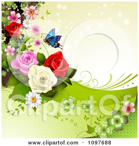 Clipart Spring Time Or Wedding Background With Roses And A Butterfly 5 - Royalty Free Vector Illustration by merlinul