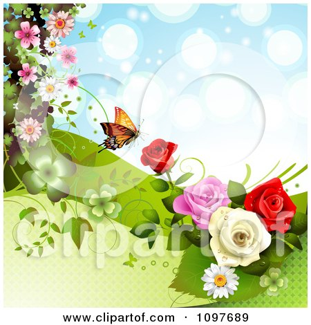 Clipart Spring Time Or Wedding Background With Roses And A Butterfly 4 - Royalty Free Vector Illustration by merlinul