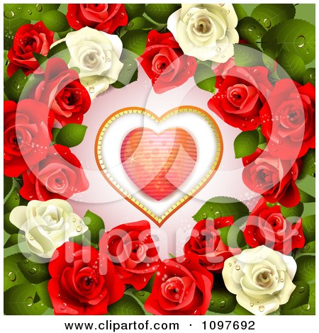 Clipart Valentines Day Or Wedding Background With A Red Heart And Dewy Roses - Royalty Free Vector Illustration by merlinul