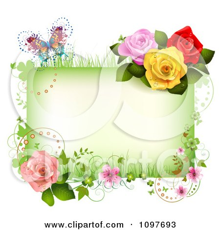 Clipart Spring Time Or Wedding Frame With Roses Blossoms And A Butterfly - Royalty Free Vector Illustration by merlinul