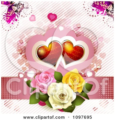 Clipart Wedding Or Valentines Day Background Of Red Hearts Over Three Dewy Roses On Pink With Butterflies - Royalty Free Vector Illustration by merlinul
