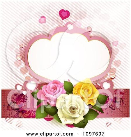 Clipart Wedding Or Valentines Background With Dewy Roses Butterflies And A Frame - Royalty Free Vector Illustration by merlinul