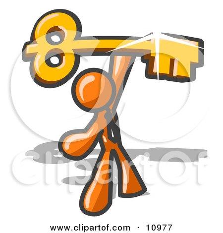 Excited Orange Businessman Holding up a Large Golden Skeleton Key Clipart Illustration by Leo Blanchette