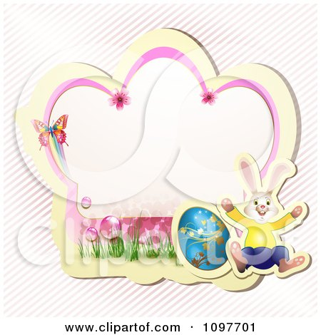 Clipart Pink Blossom Easter Frame With A Butterfly Rabbit And Egg Over Diagonal Stripes - Royalty Free Vector Illustration by merlinul