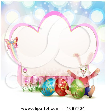 Clipart Pink Easter Frame With A Butterfly Rabbit And Eggs Over Blue Rays - Royalty Free Vector Illustration by merlinul