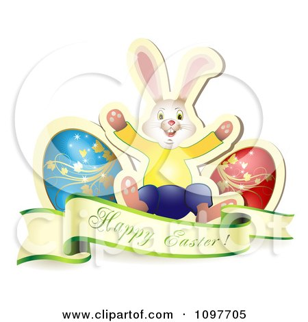Clipart Happy Easter Greeting Banner With Two Eggs And A Bunny - Royalty Free Vector Illustration by merlinul