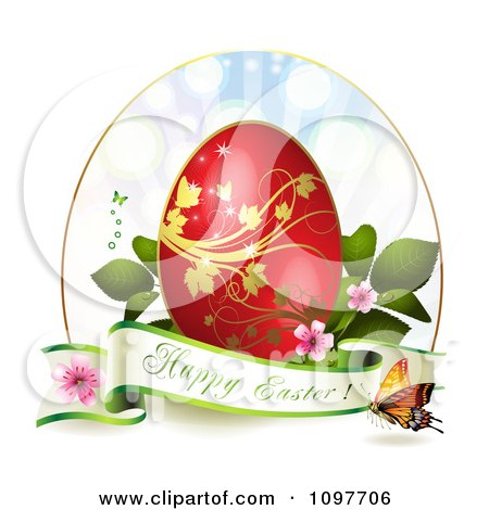 Clipart Happy Easter Greeting Banner With A Red And Gold Egg Blossoms And Butterflies - Royalty Free Vector Illustration by merlinul