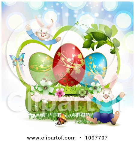 Clipart Jolly Easter Bunnies With A Green Frame With Blossoms Eggs And Butterflies Over Blue Rays - Royalty Free Vector Illustration by merlinul