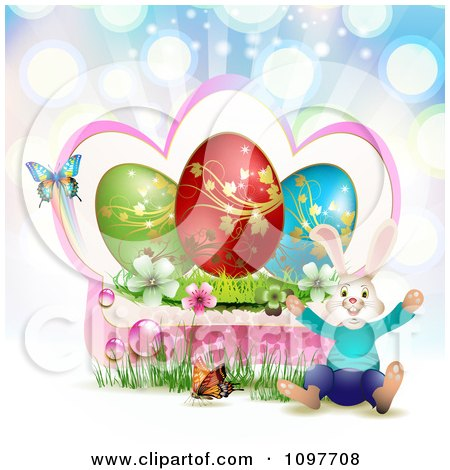 Clipart Jolly Easter Bunny With A Pink Frame Blossoms Eggs And Butterflies Over Colorful Rays - Royalty Free Vector Illustration by merlinul