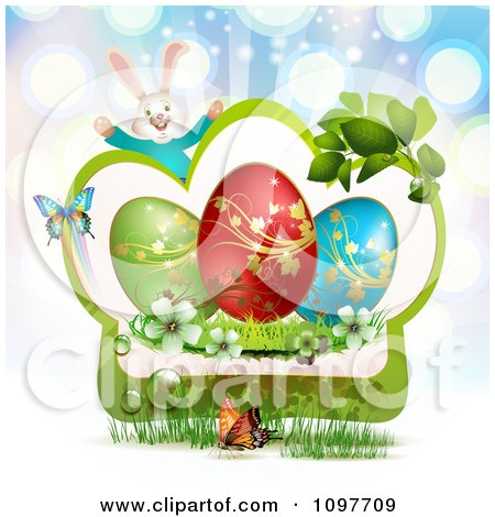 Clipart Jolly Easter Bunny Over A Green Frame With Blossoms Eggs And Butterflies Over Blue Rays - Royalty Free Vector Illustration by merlinul