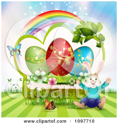 Clipart Jolly Easter Bunny Over A Green Frame With Blossoms Eggs And Butterflies And A Rainbow - Royalty Free Vector Illustration by merlinul