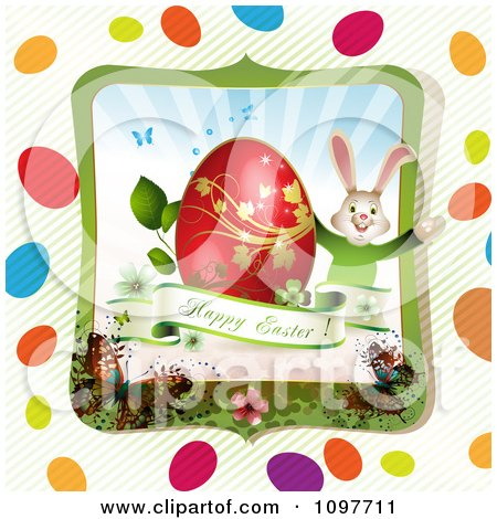 Clipart Greeting And Easter Bunny With A Red And Gold Egg In A Butterfly Frame With Stripes And Colorful Eggs - Royalty Free Vector Illustration by merlinul