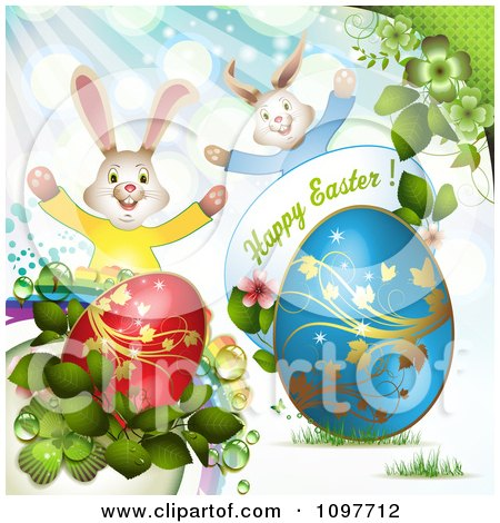 Clipart Happy Easter Greeting With Two Rabbits Eggs And Spring Plants - Royalty Free Vector Illustration by merlinul