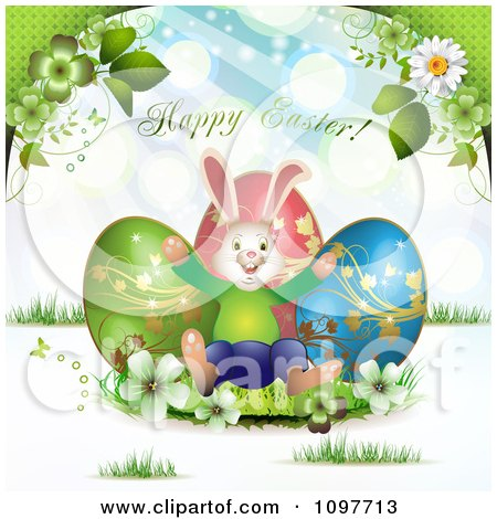 Clipart Happy Easter Greeting Over Three Eggs Flowers And A Bunny - Royalty Free Vector Illustration by merlinul