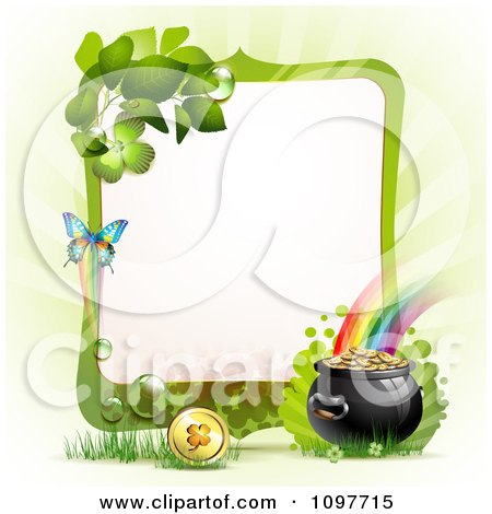 Clipart Green Butterfly Frame With A St Patricks Day Pot Of Gold At The End Of A Rainbow - Royalty Free Vector Illustration by merlinul