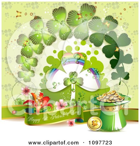 Clipart Happy St Patricks Day Banner With Gold Shamrocks And Rainbow - Royalty Free Vector Illustration by merlinul