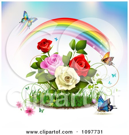 Clipart Rose Garden With Butterflies And A Magical Rainbow - Royalty Free Vector Illustration by merlinul