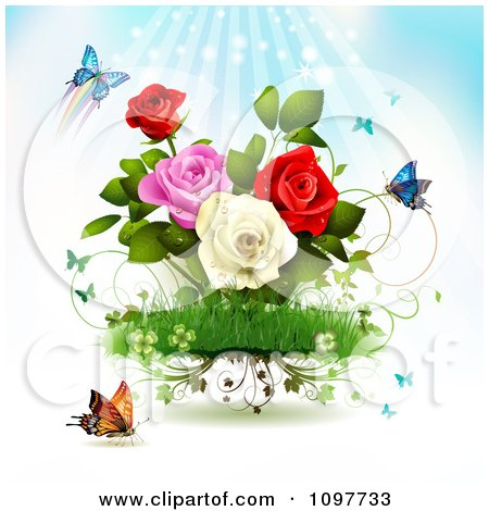 Clipart Rose Garden With Butterflies And Rays - Royalty Free Vector Illustration by merlinul