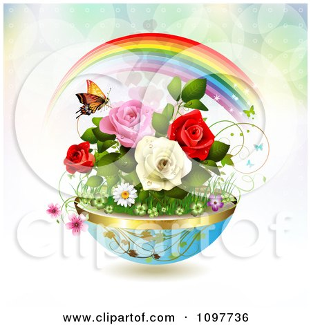Clipart Planter Of Spring Flowers With A Butterfly And Rainbow - Royalty Free Vector Illustration by merlinul