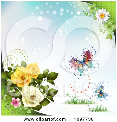 Clipart Rose And Blossom Background With Butterflies On Blue - Royalty Free Vector Illustration by merlinul