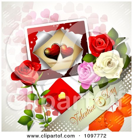 Clipart Valentines Day Banner With Colorful Dewy Roses And A Card Over Pink Hearts - Royalty Free Vector Illustration by merlinul