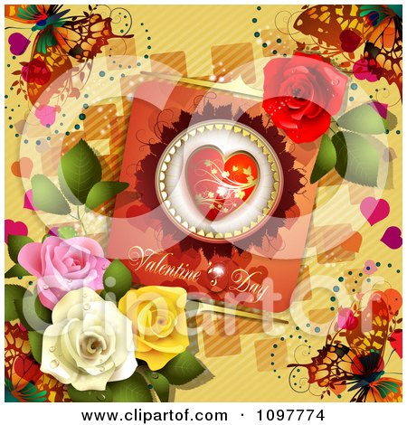 Clipart Heart Valentines Day Card With Beautiful Roses And Butterflies On Yellow - Royalty Free Vector Illustration by merlinul