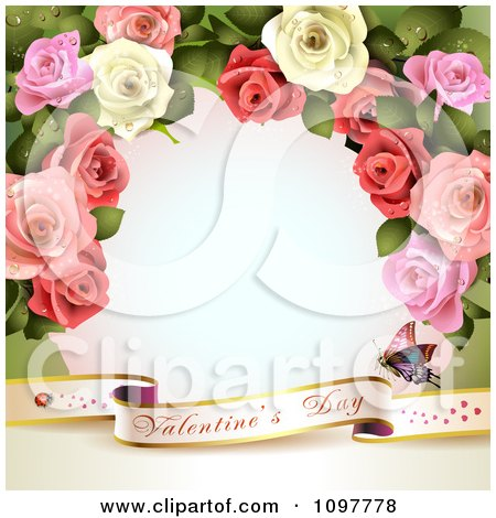 Valentines Day Banner And Frame Of Dewy Roses Posters, Art Prints