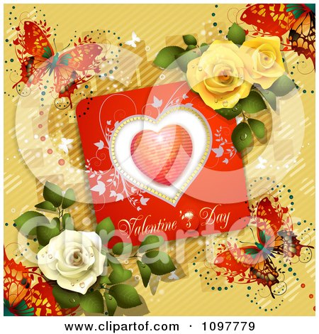 Clipart Valentines Day Card With Dewy Roses And Butterflies On Yellow - Royalty Free Vector Illustration by merlinul