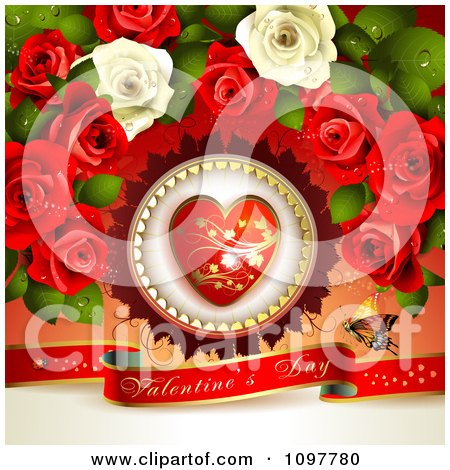 Clipart Heart And Rose Valentines Day Background With A Red Banner And Butterfly - Royalty Free Vector Illustration by merlinul