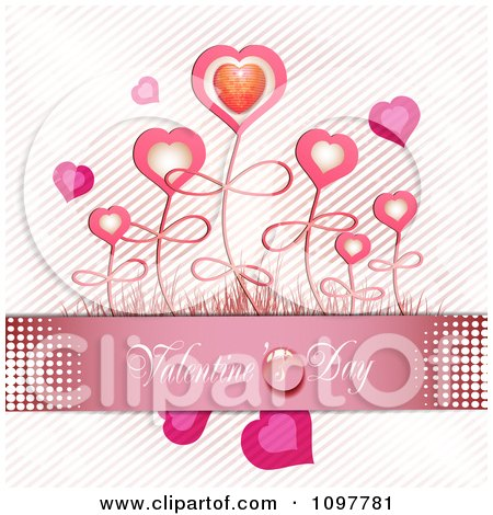 Clipart Pink Valentines Day Banner With Heart Flowers - Royalty Free Vector Illustration by merlinul