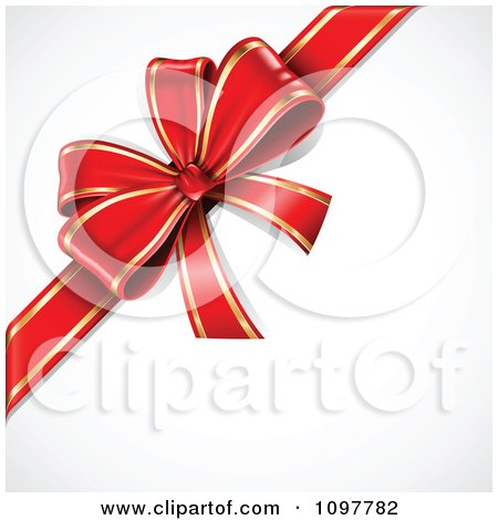 Clipart 3d Red And Gold Gift Bow - Royalty Free Vector Illustration by TA Images