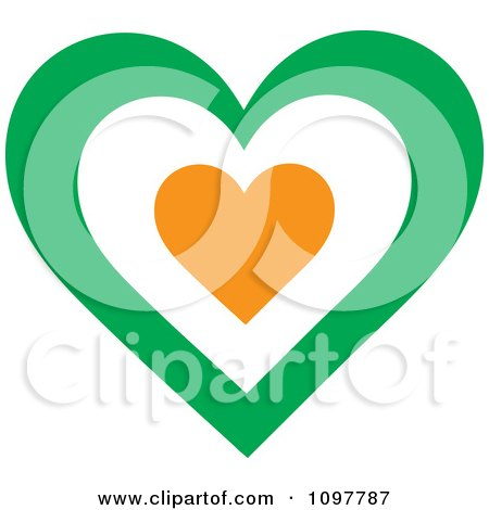 Clipart Patriotic Flag Heart With An Irish Design - Royalty Free Vector Illustration by Maria Bell