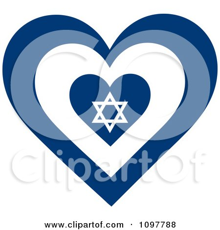 Clipart Patriotic Flag Heart With An Israel Design - Royalty Free Vector Illustration by Maria Bell