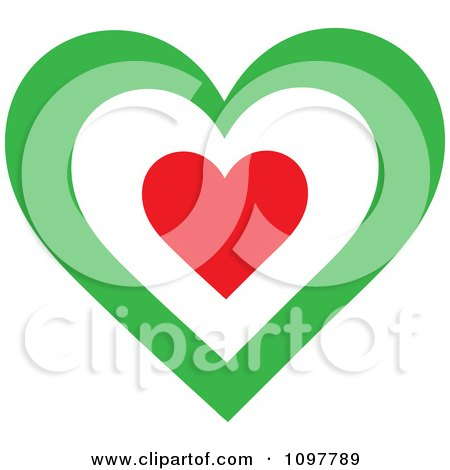 Clipart Patriotic Flag Heart With An Italian Design - Royalty Free Vector Illustration by Maria Bell