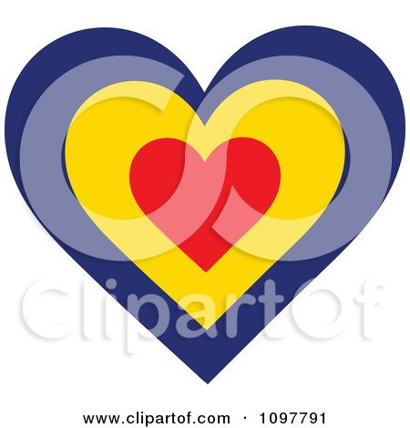 Clipart Patriotic Flag Heart With A Romanian Design - Royalty Free Vector Illustration by Maria Bell