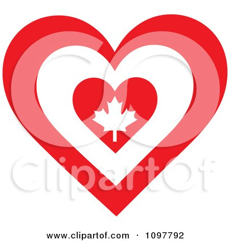 Clipart Patriotic Flag Heart With A Canadian Design - Royalty Free Vector Illustration by Maria Bell