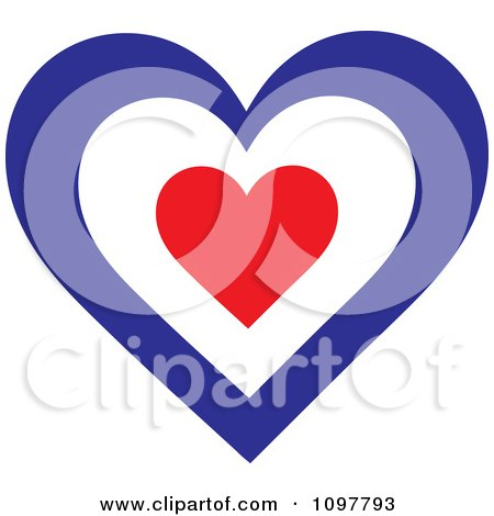 Clipart Patriotic Flag Heart With A French Design - Royalty Free Vector Illustration by Maria Bell