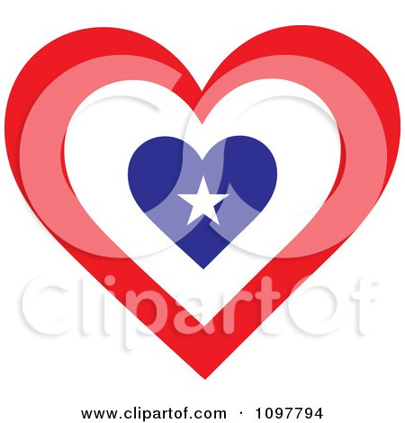 Clipart Patriotic Flag Heart With An American Design - Royalty Free Vector Illustration by Maria Bell
