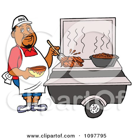 Clipart Black Chef Brushing BBQ Sauce Over Meat On A Grill - Royalty Free Vector Illustration by LaffToon