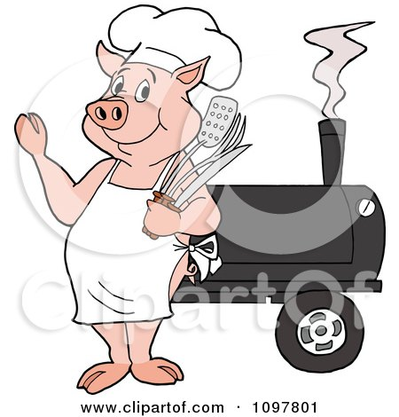 Clipart Happy Chef Pig Waving And Standing By A Bbq Smoker - Royalty Free Vector Illustration by LaffToon