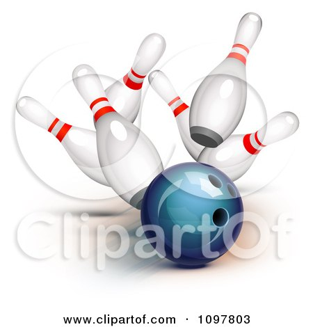 Clipart 3d Blue Bowling Ball Smashing Into Pins And Getting A Strike - Royalty Free Vector Illustration by Oligo