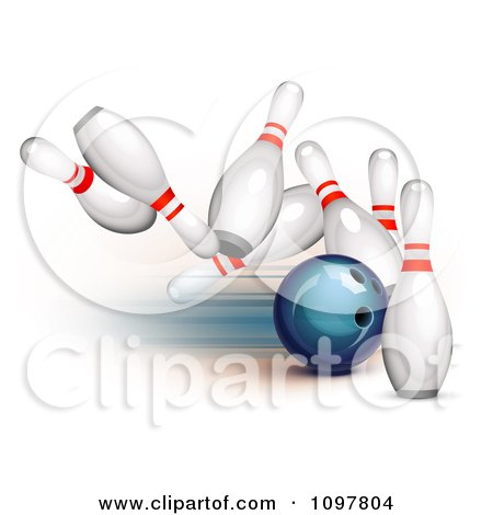 Clipart 3d Blue Bowling Ball Striking Into Pins - Royalty Free Vector Illustration by Oligo