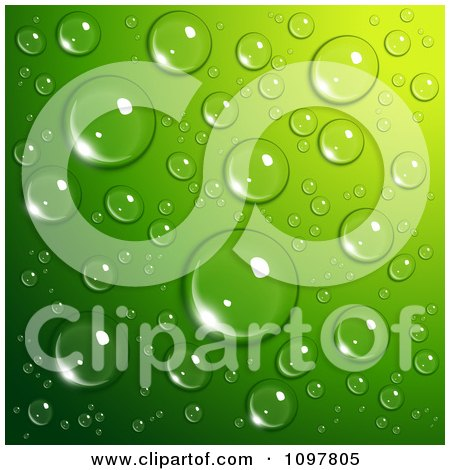 Clipart Background Of Reflective Water Droplets On Green - Royalty Free Vector Illustration by Oligo