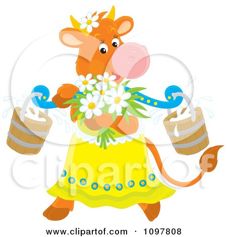 Clipart Feminine Dairy Cow With Flowers And Milk Buckets - Royalty Free Vector Illustration by Alex Bannykh