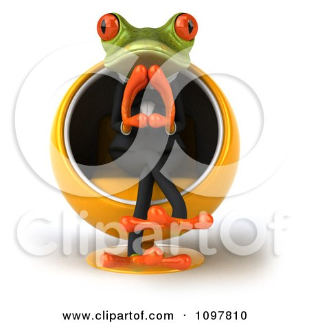 Clipart 3d Business Springer Frog Thinking And Sitting Ina Pod Chair 1 Royalty Free CGI Illustration