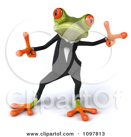 Clipart 3d Business Springer Frog Doing A Happy Dance 2 - Royalty Free CGI Illustration by Julos