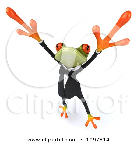 Clipart 3d Business Springer Frog Doing A Happy Dance 3 - Royalty Free CGI Illustration by Julos