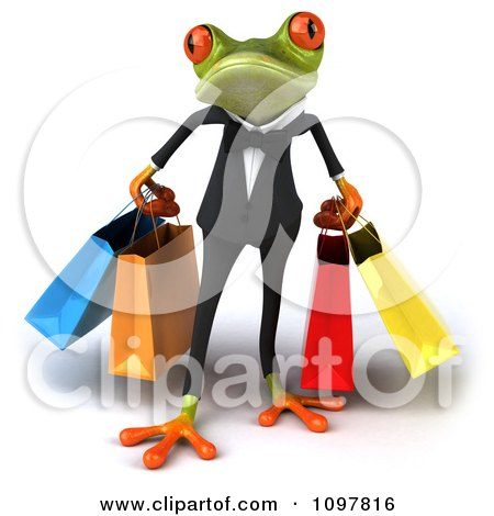 Clipart Business Springer Frog Carrying Shopping Bags 1 - Royalty Free CGI Illustration by Julos