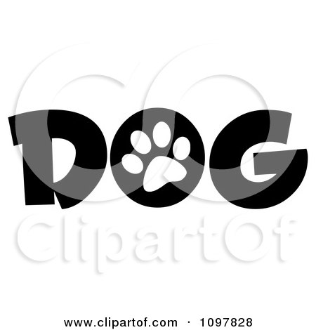 Clipart White Paw Print In The O Of The Word Dog - Royalty Free Vector Illustration by Hit Toon