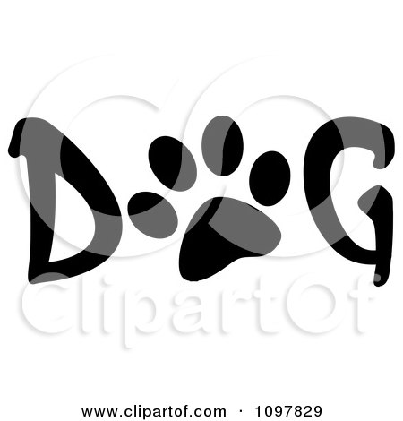 Clipart Paw Print In The Word Dog - Royalty Free Vector Illustration by Hit Toon